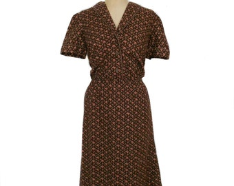 vintage 1960's brown floral dress / brown pink / roses / cotton / shirtwaist dress / women's vintage dress / size large