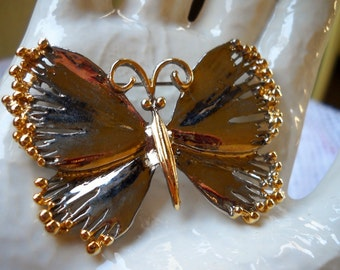 Vintage Silver Butterfly Brooch, Silver and Gold Butterfly Pin , Insect Brooch, Beautiful Summer Jewelry,