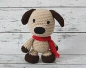 Petey the Puppy, Crochet Puppy Stuffed Animal, Puppy Amigurumi, Plush Animal, Ready to Ship