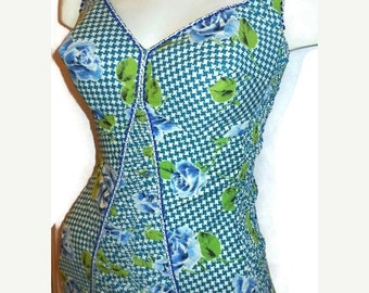 SALE Vintage 1950s Bathing Suit Blue Roses Pinup Rockabilly Smocked Swimsuit German Unworn? S