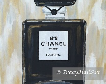 Chanel Perfume Art PRINT Chanel No. 5 Perfume Bottle Chevron Ikat Gold Black from original painting by Tracy Hall