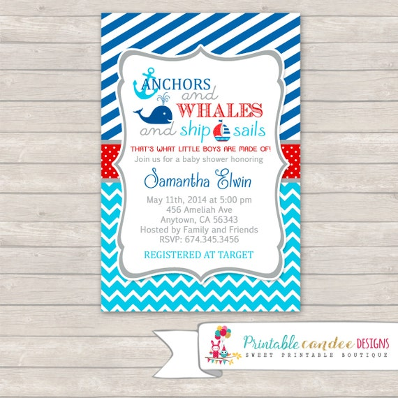 Baby Showers R Us Woodlawn ~ Items similar to anchors and whales baby shower invitation