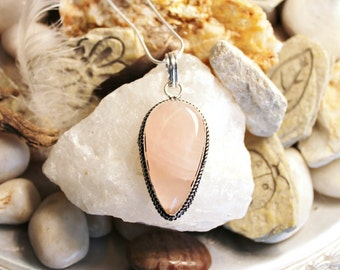 Reiki Attuned Rose Quartz Silver Pendant Necklace