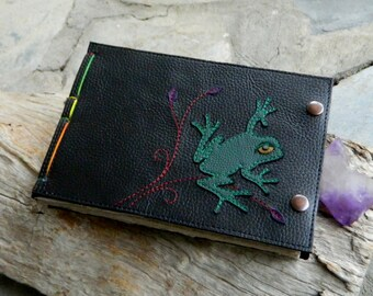 A5 Leather Journal Green Frog Landscape with Leafy Detailing and Recycled Leather Diary Handbound Book
