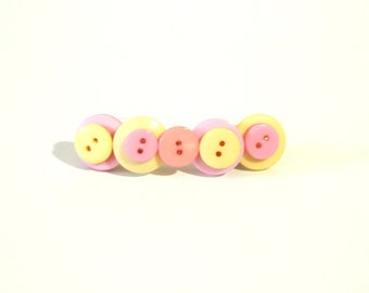 Button hair barrette in pastel pink, yellow and peach, button hair accessory, pastel hair pin, button hair pin, button hair clip