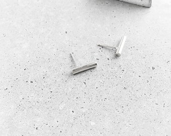 Bar Studs / sterling silver / MEDIUM size / PAIR (2 post earrings)