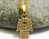 Hamsa Necklace, Gold Plated Hamsa Necklace, Turkish Jewelry