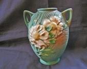 "Vintage 1940s Roseville Pottery Vase, Roseville Peony Vase 6"" blue green"