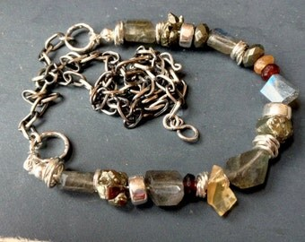 gemstone bracelet necklace sterling silver labradorite fire opal sapphire pyrite OOAK FIRE POWER