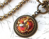 HEAT, The Perfect Valentine Gift, Fire under Glass Necklace Pendant large, Hot Color Orange Fuchsia Gold, Button jewelry veryDonna