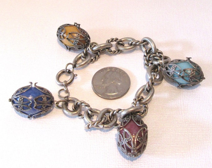 Fun and Funky Base Metal and Glass Bead Necklace; Vintage Bracelet with Egg Shaped Drops; Fun Vintage Bracelet; Funky Vintage Bracelet