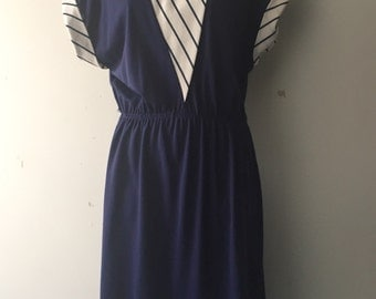 Vintage Navy Blue White Striped Dress Rolled Capped Short Sleeved Womans Size 9/10 1970s Preppy/Nautical/Spring/Summer