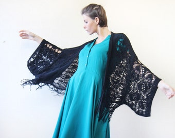 Vintage black long fringe oversized wide kimono sleeve knit bohemian vest throw
