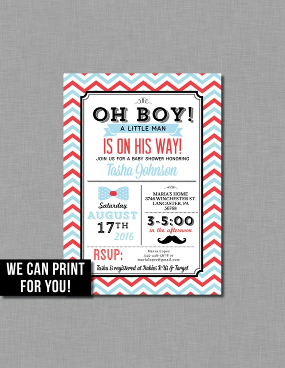 Mustache Baby Shower Invitation Little Man Baby Boy Vintage Blue Red