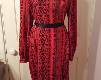 80's ABSTRACT PRINT DRESS // Vintage Adrian Avery Red and Black Bow Tie Oversized Boxy Dress Size 14 Artistic Party Dress