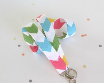 Chevron Lanyard ID Badge Holder in Rainbow Pastels, Keychain OvationStudio Teacher Lanyard