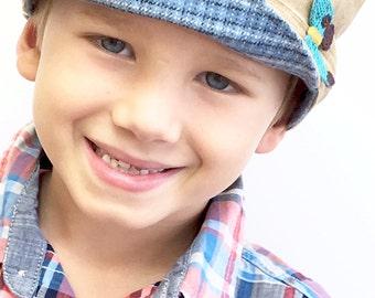 Back to School, Children's Hat, Boys Hat, Newsboy Boy Hat, Fabric Hat, Boys Cap, Newsboy Cap, Gift for Boy, Chemo Boys Hat, Kid Newsboy Cap