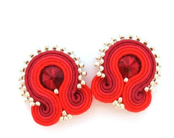 Soutache Clip on earrings - Bridesmaids earrings - red earrings - wholesale earrings - Daughter gift - christmas gift for wife birthday gift