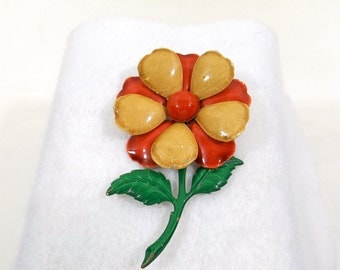 1960's Enamel Flower Brooch