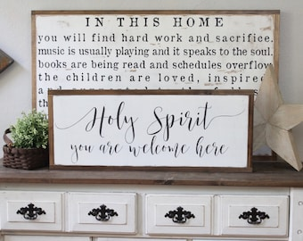 Holy Spirit You Are Welcome Here, Wood Sign, Wood Wall Art, Spiritual Sign, Framed Wall Art, Hand Painted Wood Sign, Rustic Wood Sign