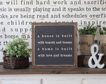 Wood Sign, A House Is Built With Boards And Beams,  Hand Painted, Home Decor, Inspirational Decor, Framed Wall Art