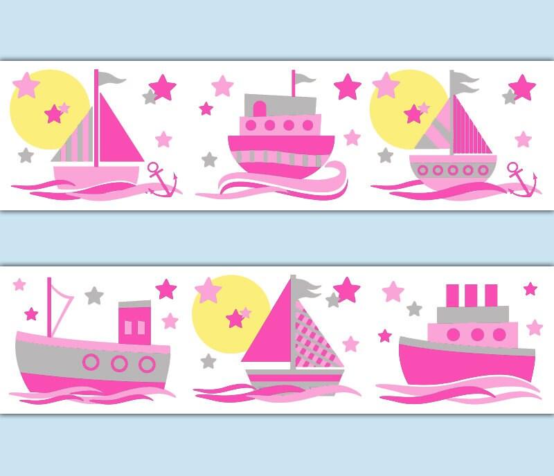 Soft And Elegant Gray And Pink Nursery: NAUTICAL NURSERY BORDER Sailboat Decal Girl Wall Art Pink Grey