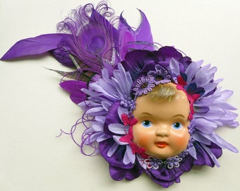 Doll Face Fascinator, Victorian Child Hair Adornment, Alternative Wedding Corsage
