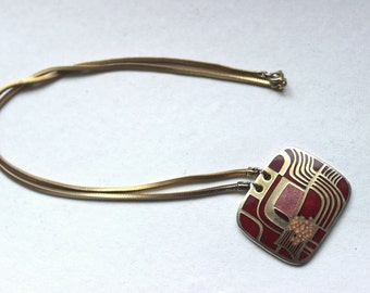 de Passille Sylvestre pendant goldtone abstract design red pink orange