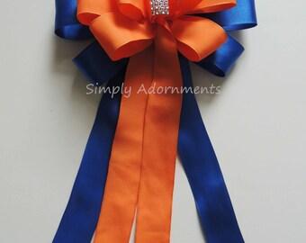 Blue Orange wedding pew bow Royal Blue Orange Church Aisle Pew Bow Wedding Ceremony Bow Birthday Shower Gifts Bow