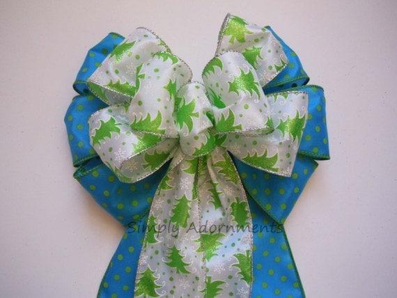 Blue Green Christmas Tree Bow Blue Green Christmas Wreath Bow Pine Tree Christmas Swag Bow Blue Green Winter Holiday Door hanger Decor bow