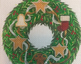 "Hand Painted Needlepoint Canvas Gingerbread Man Wreath 4"" Ornament"