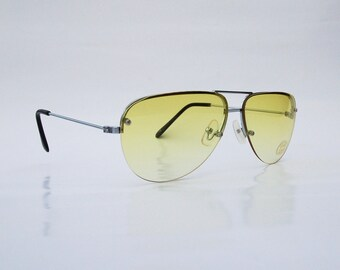 Vintage 90s Yellow Lens Sunglasses/ Aviator Shades w Silver Tone Frame - NOS Dead Stock Cyber/Rave
