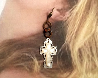 Devotional Cross Earrings Tribal MOP Mother Pearl Dangle