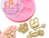 Crown Heart Lock Key Set  Silicone Mold 770m Cupcake Topper Fondant Gumpaste Polymer Clay Cookie Chocolate Melts Flexible Mold BEST QUALITY