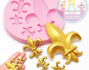 Fleur De Lis Mold 772m Cupcake Topper Fondant Gumpaste Polymer Clay fimo Cookie topping Chocolate Melts Flexible Mold BEST QUALITY