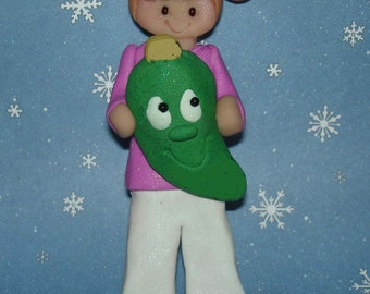 Holiday Pickle Legend Christmas Ornament Story Polymer Clay Handcrafted Milestone Cake Topper Girl Pony Tail Tree Decoration 1st