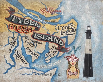 Tybee Island Georgia  beach   Map  - Print , art