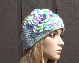 Crochet Flower Headband Head Wrap Earwarmer Winter Knit Variegated Purple Lime Green Blue and White