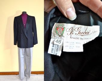 1980s Vintage Gucci Designer Womens Tuxedo Suit size 46 (L) bust 40
