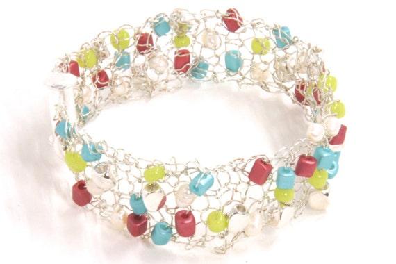 Silver Bracelet - Spring Fashion Accessory - Summer Trend - Cuff Bracelet - Silver Mesh Cuff- Silver Mesh Bracelet - Colorful Cuff