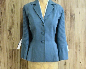 Pale blue Lilli Ann blazer with pleated sleeves / early 1960s / Lilli Ann of San Francisco