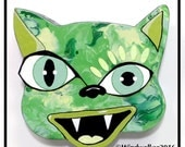 Outsider Folk Art Cat Head, Happy Cat #5, Comical Hand Painted Cat Wall Hanging, Abstract Cat Wood Wall Art, Outsider Cat by Windwalker Art