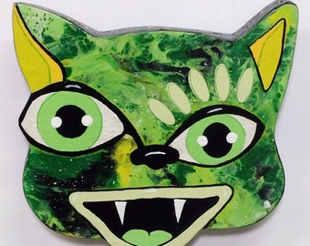 Outsider Folk Art Cat Head, Happy Cat #10, Comical Hand Painted Cat Wall Hanging, Abstract Cat Wood Wall Art, Outsider Cat by Windwalker Art