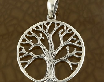 Tree of Life Pendant in Solid 925 Silver - Wiccan Magic Charm - Pagan