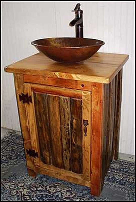 "Bathroom Vanity - Rustic Bathroom Vanity -  Bathroom Vanity with sink - Copper Sink - Bathroom Vanities - Sink - Rustic vanity - 25 "" wide"