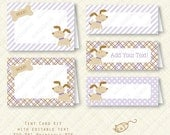 Purple Puppy Tent Buffet Card Kit party favor bag printable Birthday Baby Shower placecard plaid stripes dots instant download digital pdf