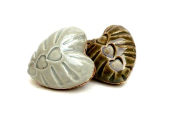 Porcelain Hearts  , Olive And Aqua , Ceramic Sculpture ,  Couples Gift ; Pair Of Hearts , Heart Pebbles