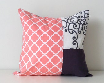 "Contemporary Patchwork Pillow Cover, 14x14"", Color Block, Modern Decor, Coral, Black, Grey, White, Pattern Block, Girls Room, Fun Colours"