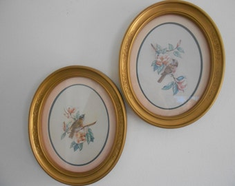 Oval gold Homco bird pictures, birds on limbs,wall decor,Homco pictures