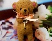 Beige tiny teddy bear needle felted